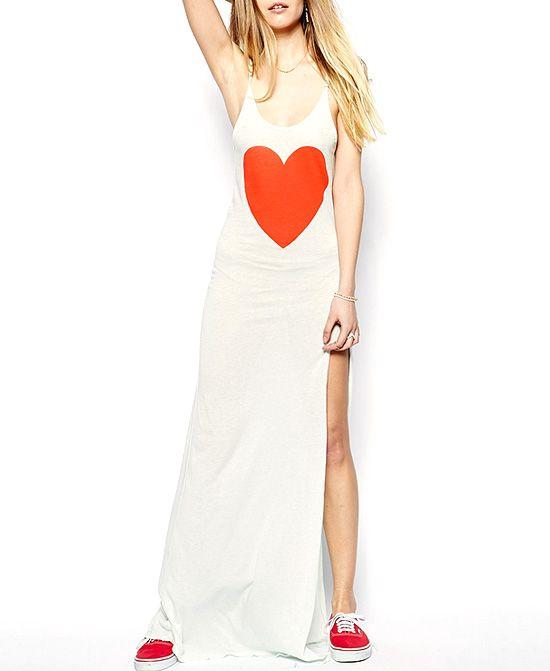 Red Heart Print Slit Cami Dress