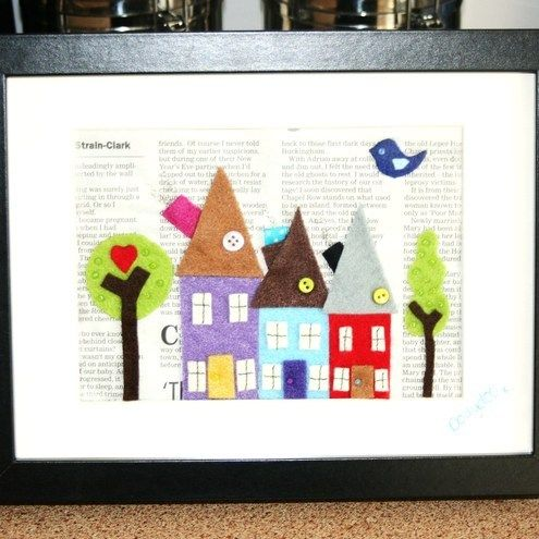 felt houses in a frame: Books Pages, Funky Houses, Crafts Ideas, Funky Felt, Crafty Inspiration, Felt Houses, Diy Projects, Paper Houses, Books Backgrounds