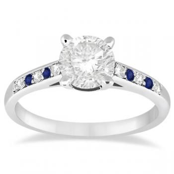 Cathedral Sapphire & Diamond Engagement Ring 14k White Gold (0.20ct) - Allurez.com
