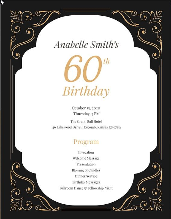 60th Birthday Program Template In 2019 Birthday Template