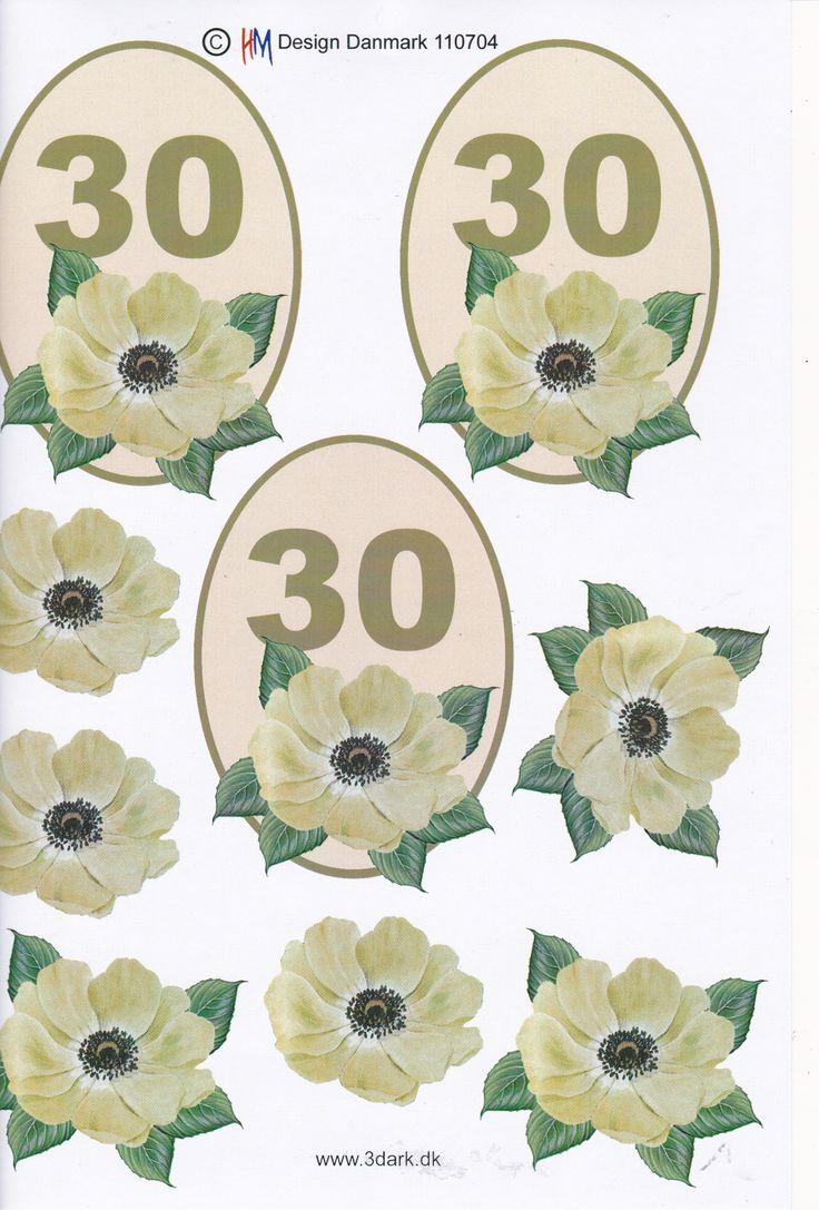 Super søde og smukke 3D ark fra Sjovogkreativ.dk med blomster 0g tallet 30. Perfekte til lave selv kort til 30 års fødselsdag og jubilæum.