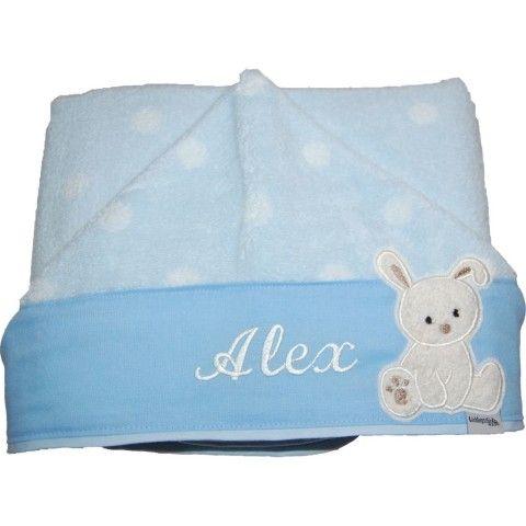 Baby Kapuzenhandtuch mit Namen und Häschen hellblau gepunktet