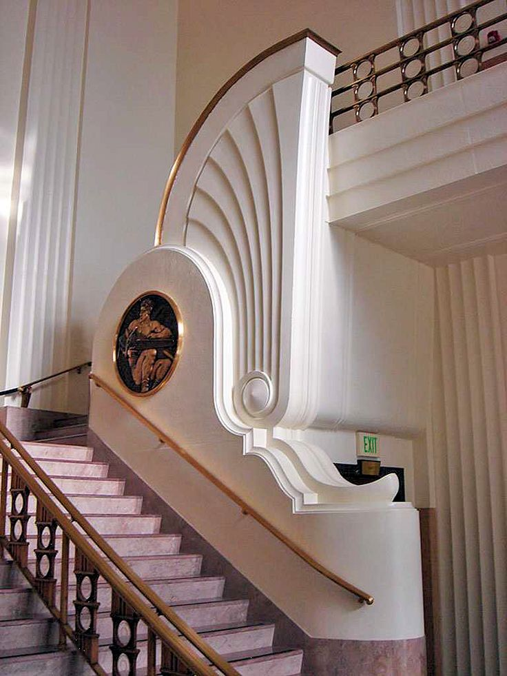 Art Deco Stairs at Burbank City Hall - 1943 - Burbank, California - Design by William Allen and W. George Lutzi - U.S. National Register of Historic Places