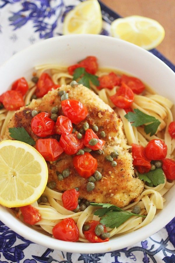 Crispy Chicken Scallopini with Tomatoes in a Lemon-Butter White Wine Sauce | thecomfortofcooking.com