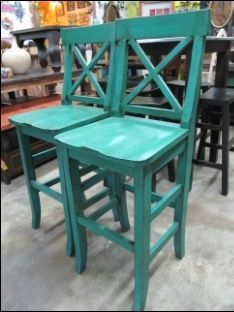 Turquoise Bar Stools Kitchen | distressed barstools -- need these in Red!