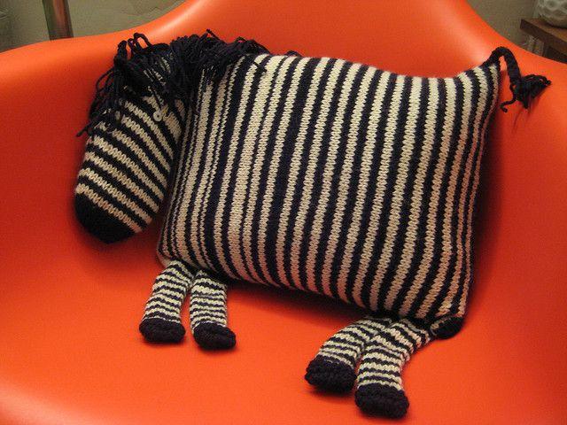 Must knit crochet zebra pillow!