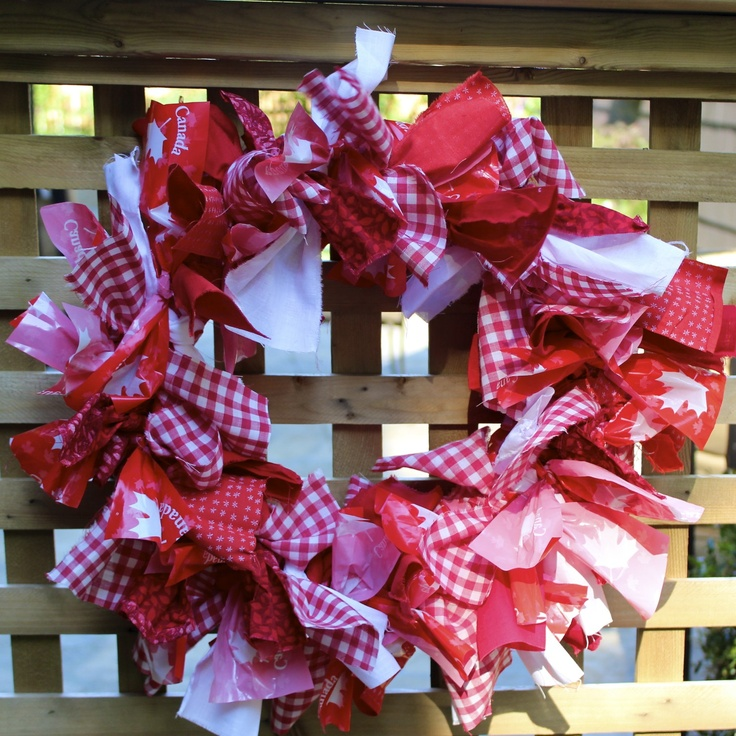 pool noodle rag wreath for Canada Day