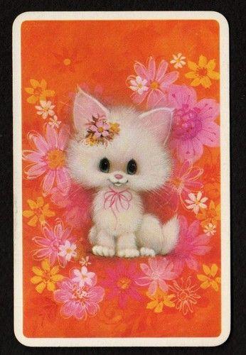 Vintage Swap Card - Cute White Kitten & Flowers
