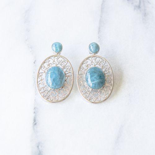 "Filirose ""Filipa silver Earrings Aqua"" - Minimalistic, elegant fine jewelry with Portuguese filigree Earrings in filigree with natual stone - aquamarine"