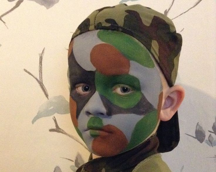Easy Army Camouflage Face Paint  / Make-up Tutorial - Easy Guide - Child...