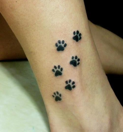 Pawprint Foot Tattoo: Sweet Paw Print Tattoos Below Ankle Photo - 1