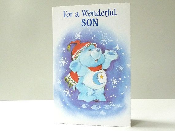 'Bedtime Bear' Carebears ORIGINAL AND UNUSED Christmas card from the 80s!