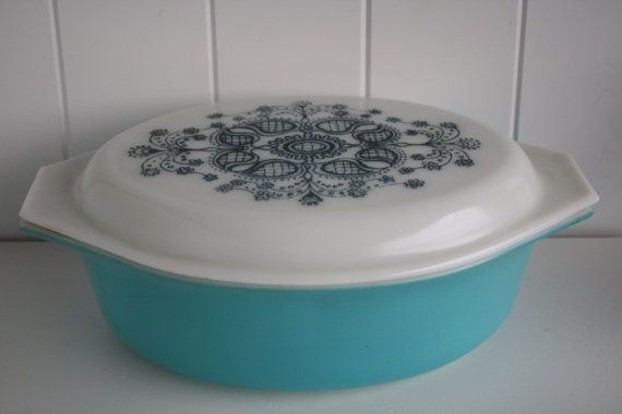 Vintage 'Blue Doiley' Pyrex Casserole Dish by themerryhomemaker