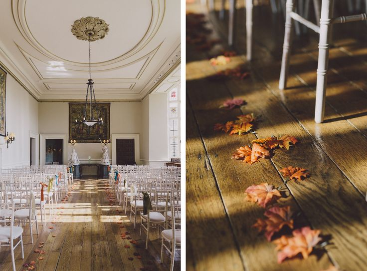 Real autumn leaves adding the perfect touch to this #rusticwedding at Elmore Court. Image © Chris Scuffins. #wedding #cotswoldwedding #autumnwedding #weddingvenue