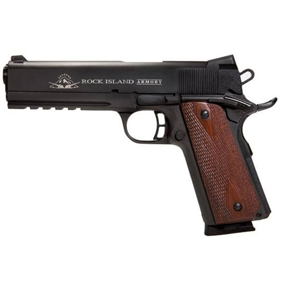 Armscor Rock Island Armory 1911 Tactical Rail Semi Automatic Pistol .45 ACP 5 Barrel 8 Rounds Wood Grips Parkerized Finish 51484