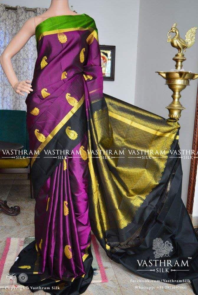 d789ea32f4 purple kanchipuram soft silk saree with gangajamuna border mango motif with  rich pallu Blouse: black plain blouse with zeri Code: :S0917KA081202 Cost:  12500 ...