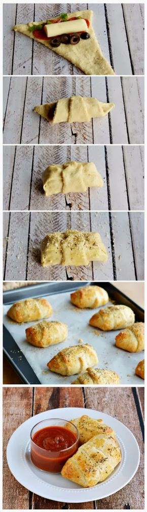 Supreme Pizza Pockets Recipe Ingredients 1 tube Pillsbury Big N Flaky Crescent Rolls 24 slices pepperoni ½ cup sliced black olives ¼ green bell pepper, diced 4 sticks Mozzarella string chees…