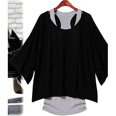[CyberWeekSale]Women's Batwing Sleeve Loose Suit(T-Shirt & Vest) - USD $ 14.40