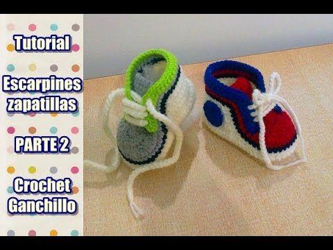DIY Como tejer escarpines, zapatitos, zapatillas, patucos para bebe a crochet, ganchillo (2/2) - YouTube