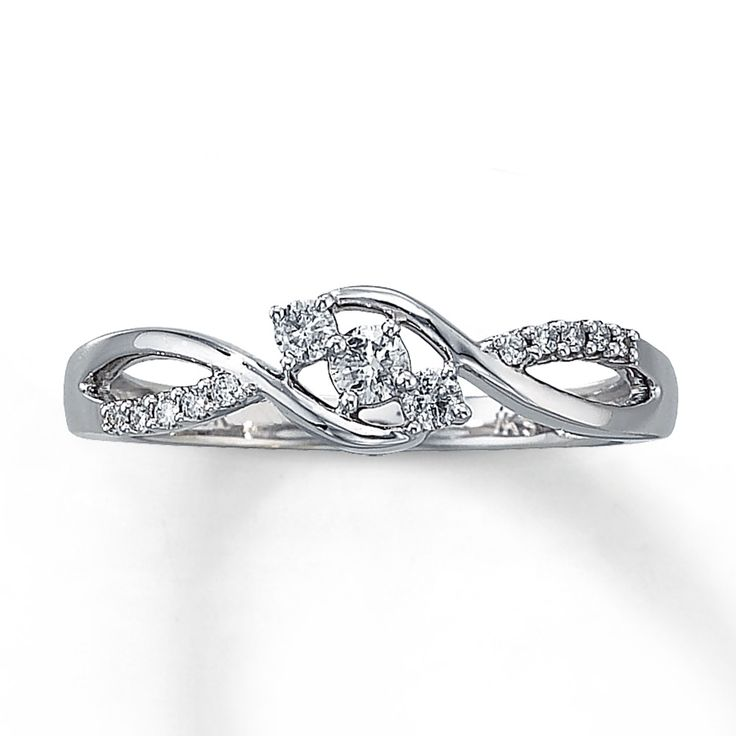 promise rings for girlfriend | Jared - Diamond Promise Ring 1/5 ct tw Round-cut 10K White Gold