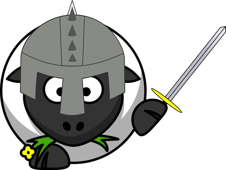 Knight sheep by @dodger2, Sheep dressed as Knight, on @openclipart