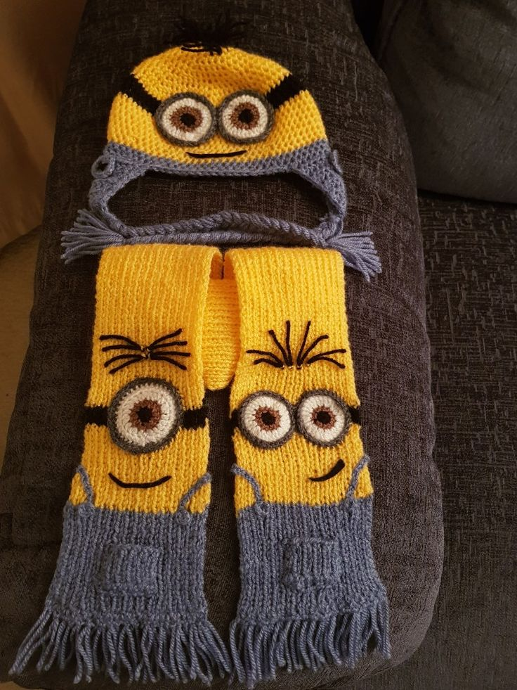 My attempt at a Minion Hat and Scarf set. Made for a nephew's 1st birthday.  The hat is fully crocheted and the scarf is knitted with crocheted eyes.