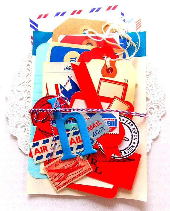 Airmail Ephemera Pack / Scrapbook Supply / Junk Journal / 35+ Pieces / Tags / Labels / Paper Ephemera