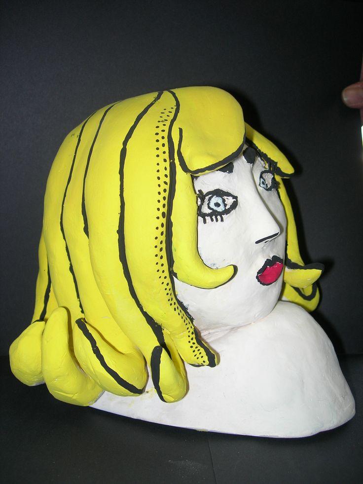 Opdracht: Impressie van een kunstwerk. Materiaalkeuze vrij.Impressie van werk van Roy Lichtenstein.
