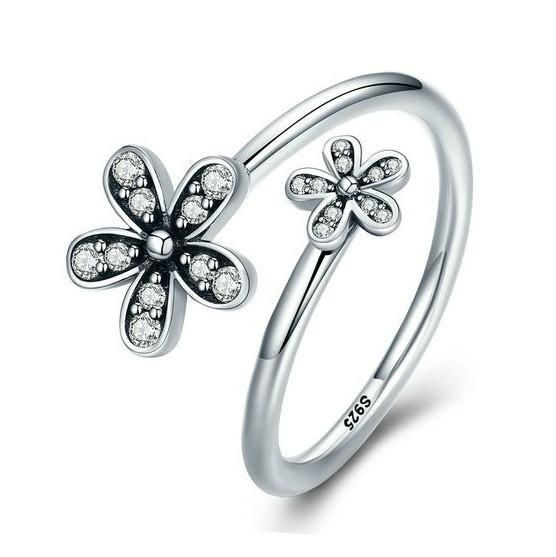 Rings   Sterling Silver Stunning Double Dazzling Daisies Ring
