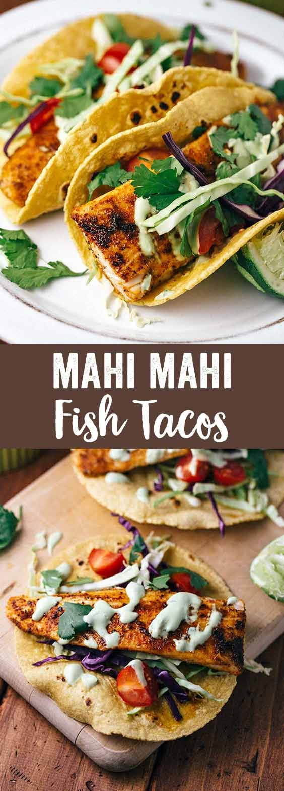 Blackened Mahi Mahi Fish Tacos with Avocado-Lime Sauce - A super simple and flavorful recipe that you won't need to head to Mexico to enjoy! via @foodiegavin