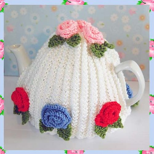 Vintage Tea Cosy Knitting Patterns : Ann Vintage Roses Style Tea Pot Cosy Cozy DK Yarn Knitting Pattern pattern by...