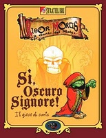 """Group activities for mixed-age stutterers.    Aye, Dark Overlord! (a.k.a. """"Sì, Oscuro Signore!"""") is a fantasy party game filled with humor, fast to play and easy to learn.    Each player is an evil goblin servant of the evil Dark Overlord (Rigor Mortis, the Master of all Evils), and all of them are gathered at the Dark Overlord's knees to explain why they brought that last important mission, ordered by 'His evil Excellence' himself, to failure again. Panic wraps you in its freezing grip…"""
