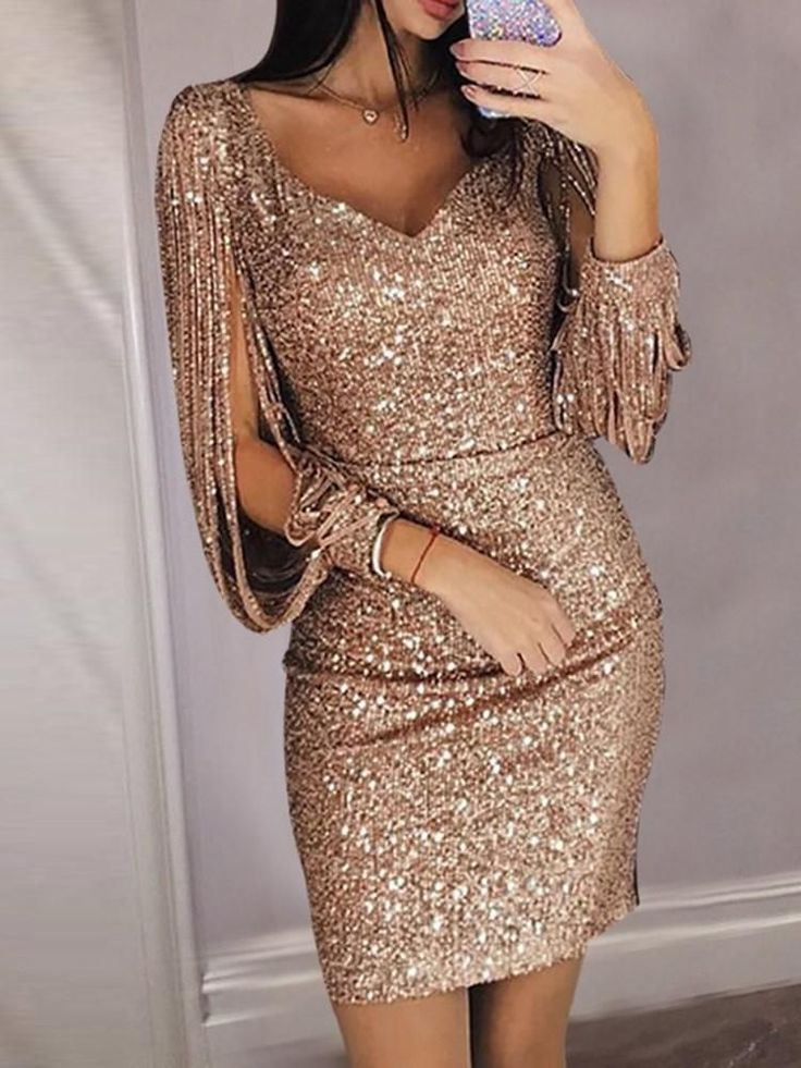 Above Knee V-Neck Long Sleeve Pullover Spring Dresses