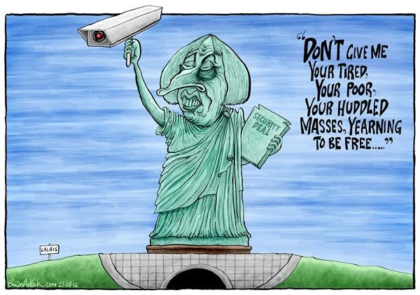 Theresa May's xenophobia, cartoon