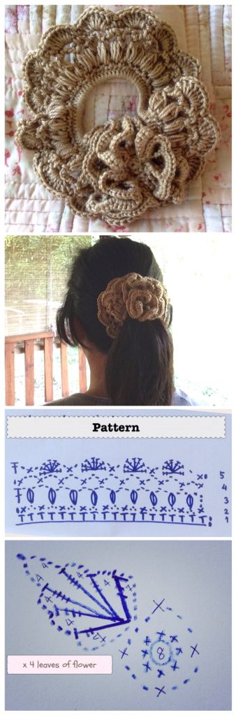 Flower Crochet Scrunchies with Pattern