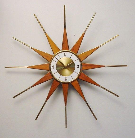 Vintage Starburst Sunburst Atomic Eames Era MCM Wall Clock ...