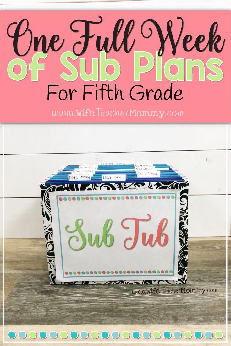 5th Grade Ready To Go Sub Plans