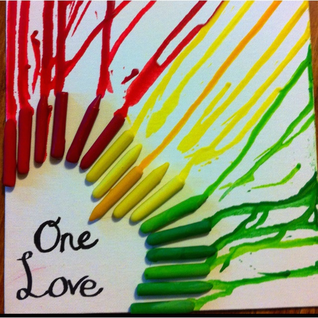 One Love - Bob Marley inspired melted crayon art