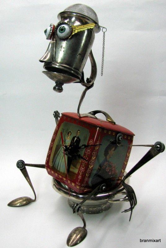 Recycled Art Sculptures in art with Vintage Sculpture Reused recycled crafts Recycled mixed media metal art junk bots