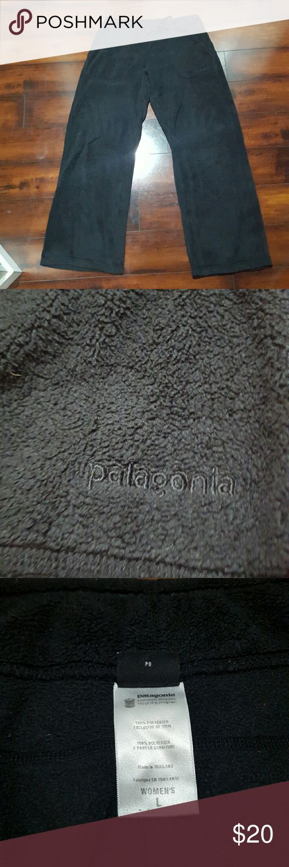 Women's black Patagonia fleece pants, size large Women's black Patagonia fleece pants, size large.  Has some fuzzies, but very soft. Patagonia Pants Track Pants & Joggers