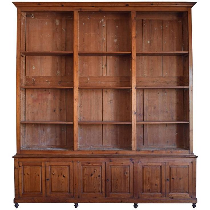 Italian Circa 1870 Large Bookcase In Chestnut Open Shelves And Locking Cabinets