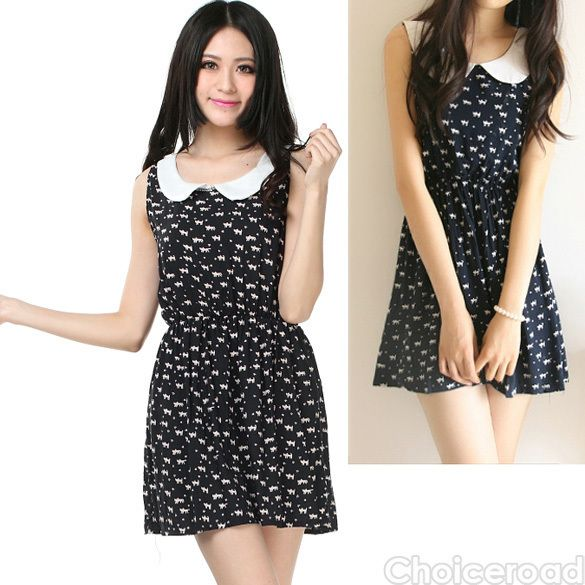 Cat Print Dress With Collar Navy/White