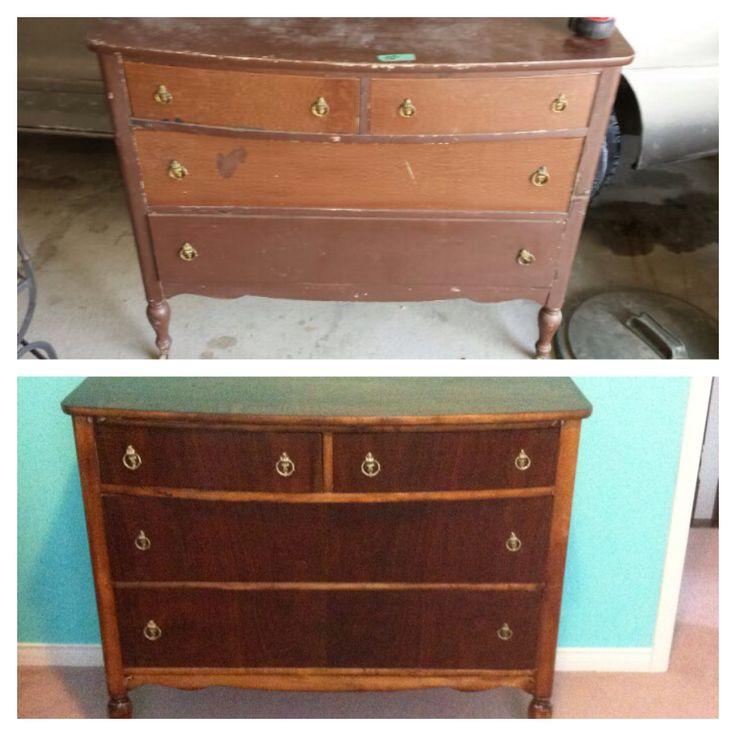 Antique dresser with original bronze hardware - repurposed for change table