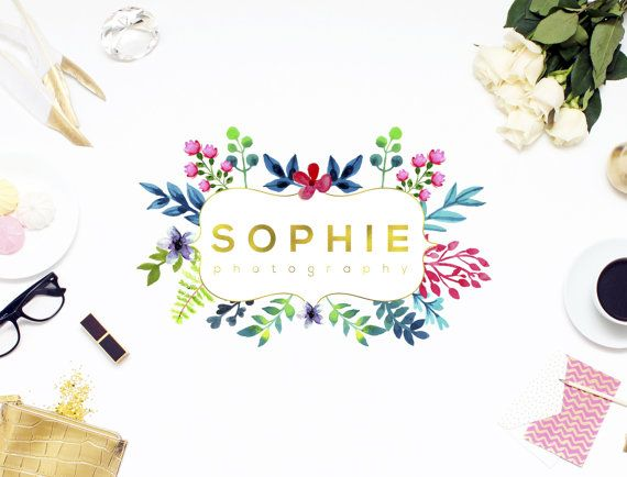 Premade Elegant Floral Logo Golden Foil by SmallBottleCreations
