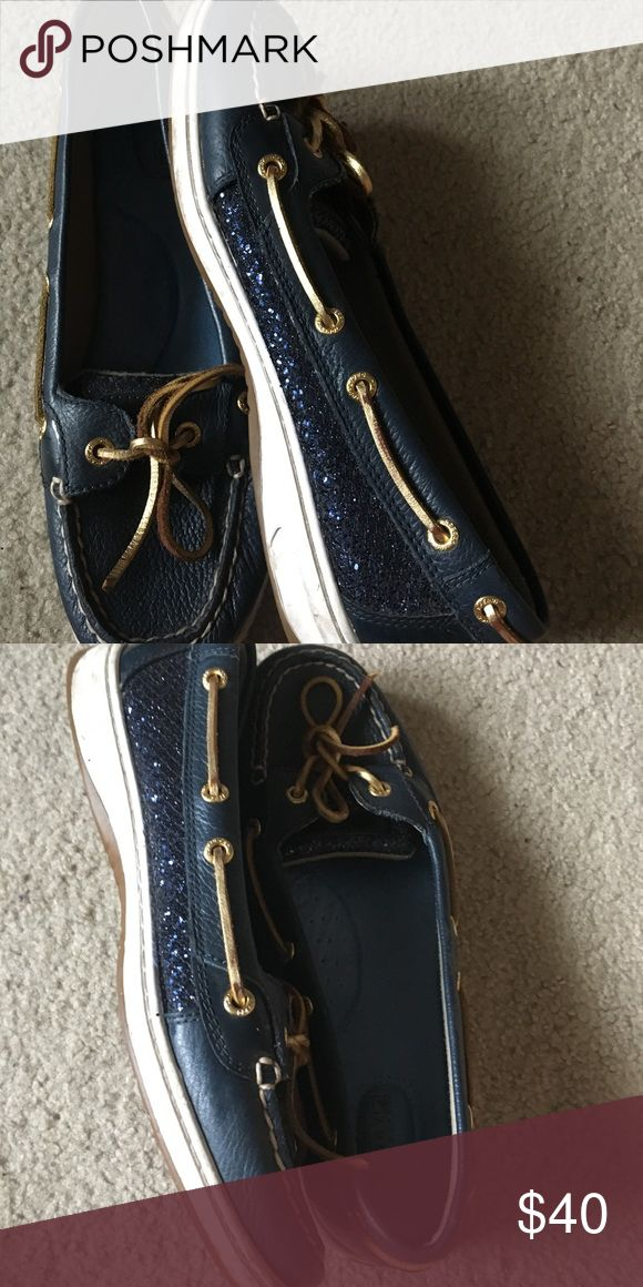 Sperry Top-Sider Sequin Boat Shoes Sperry Top-Sider Angelfish Navy Glitter Boat Shoes only worn a handful of times. Good condition with some scuffs on the whites of the shoe. Sperry Top-Sider Shoes Flats & Loafers