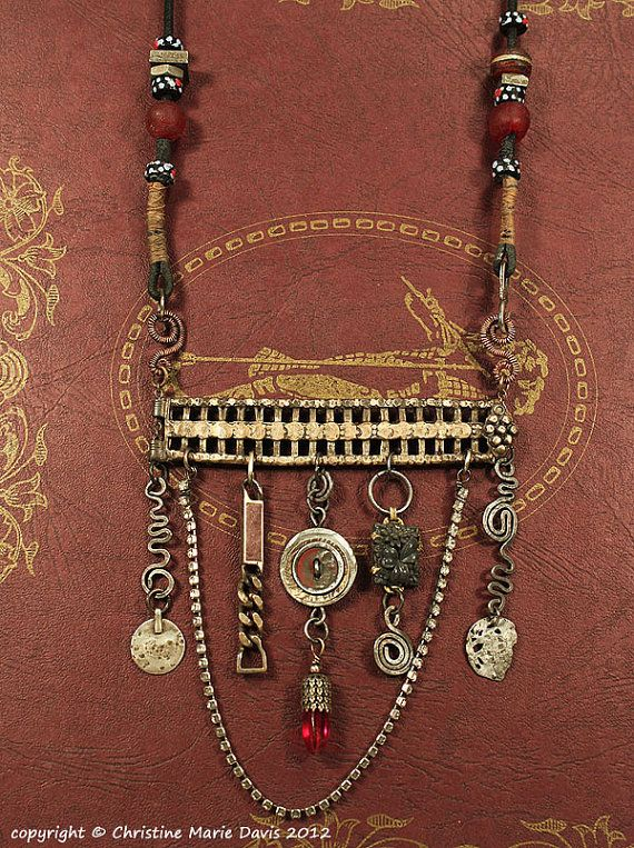 Gypsy Jewelry Charms Necklace - Amulets of the GYPSY for your  BOHO Tribal Style. 124.00, via Etsy.