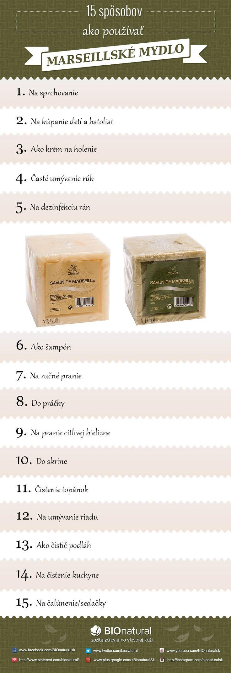 15 spôsobov ako používať marseillské mydlo http://www.bionatural.sk/a/15-sposobov-ako-pouzivat-marseillske-mydlo-infografika
