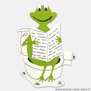 Plaque de porte de toilettes grenouille humoristique for Plaque de porte humoristique