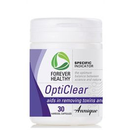 OptiClear 30 Hardgel Capsules Opticlear contains Absorbatox that adsorbs heavy metals, toxins and nitrates. Heavy metal toxicity can have detrimental effects on your health. OptiClear helps to restore organ equilibrium and is safe to use (it  stays in the gastro intestinal tract) even in severe cases. http://www.anniquedayspa.co.za/eb_product/opticlear-30-hardgel-capsules/