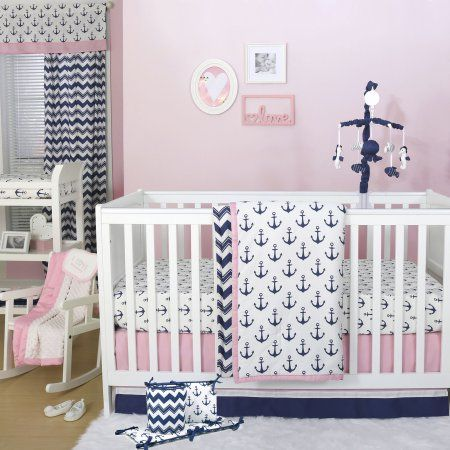 The Peanut Shell 5 Piece Baby Crib Bedding Set - Navy Blue and Pink Anchor Nautical Theme - 100% Cotton Quilt, Bumper, Dust Ruffle, Fitted Sheet, and Mobile